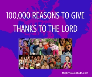 100,000 Reasons to give thanks to the lord